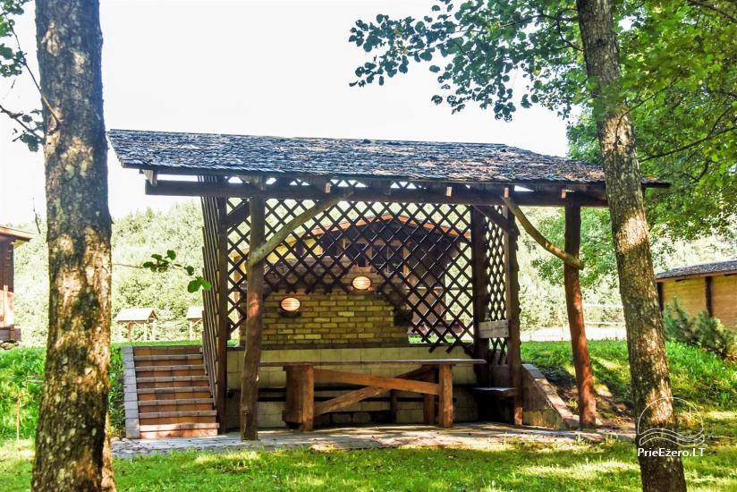 Wooden holiday cottages, campsite, kayaking