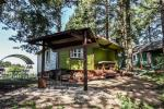 Małe domki letniskowe nad jeziorem Arino na Litwie, w regionie Moletai