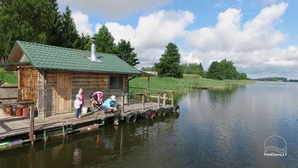 Holiday cottages, bathhouse, hot tub, kayaks in homestead at the lake Dviragis - 35