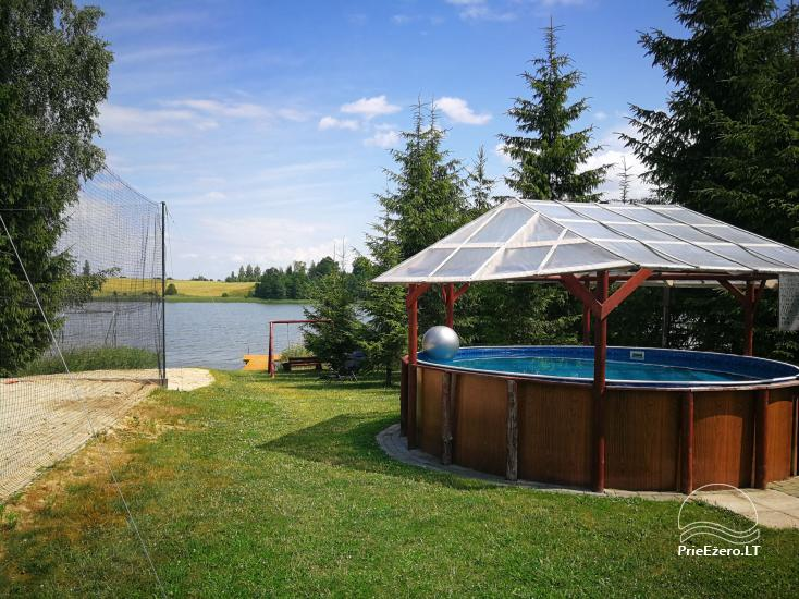 Holiday cottages, bathhouse, hot tub, kayaks in homestead at the lake Dviragis - 48