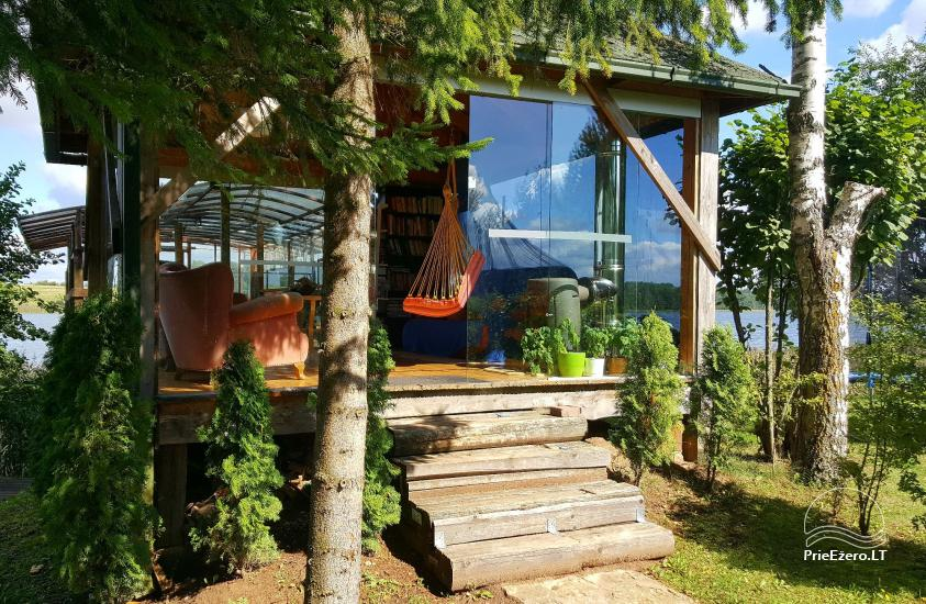 Holiday cottages, bathhouse, hot tub, kayaks in homestead at the lake Dviragis - 60