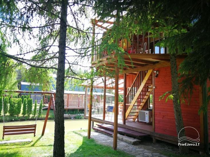Holiday cottages, bathhouse, hot tub, kayaks in homestead at the lake Dviragis - 64