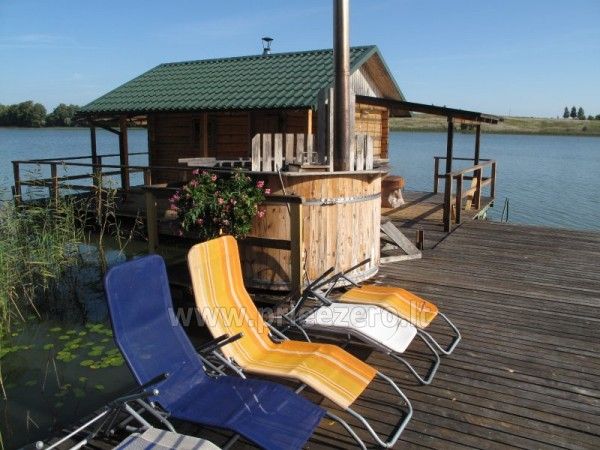 Holiday cottages, bathhouse, hot tub, kayaks in homestead at the lake Dviragis - 11