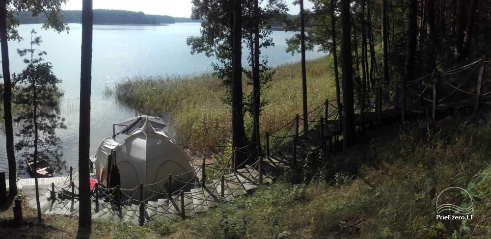 camping site by the lake Baltieji lakajai in  Moletai district, Lithuania - 4