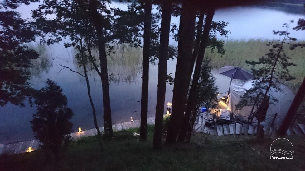 camping site by the lake Baltieji lakajai in  Moletai district, Lithuania - 8