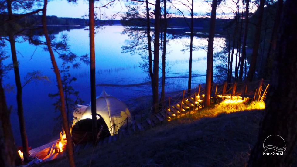 camping site by the lake Baltieji lakajai in  Moletai district, Lithuania - 1