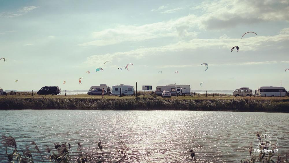 Fenas Kite Spot camping on the shore of the lagoom, in Lithuania, in Svencele - 9