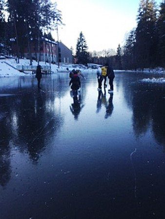 Skating on the water pond Sultekis